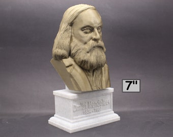 Dmitri Mendeleev Famous Russian Chemist and Inventor 7 inch 3D Printed Bust