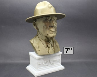 "R. Lee Ermey (with Drill Instructor Cover) USMC Retired ""The Gunny"" 7 inch 3D Printed Bust"