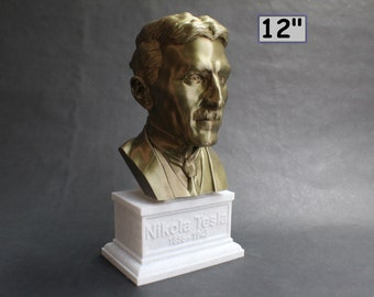 Nikola Tesla Famous Inventor, Electrical Engineer, and Futurist 12 inch 3D Printed Bust