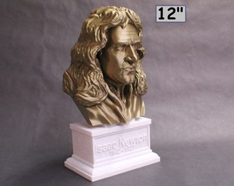 Sir Isaac Newton Famous English Mathematician, Physicist and Astronomer 12 inch 3D Printed Bust