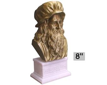 Leonardo da Vinci Italian Polymath, inventor, painter, and Renaissance man 7 inch 3D Printed Bust