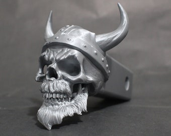 """Laughing Viking Skull Trailer Tow Hitch Receiver Plug Cover that fits 2"""" Receivers for car, truck, or SUV"""