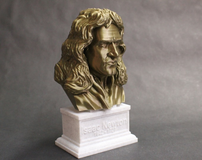 Featured listing image: Sir Isaac Newton Famous English Mathematician, Physicist and Astronomer 7 inch 3D Printed Bust