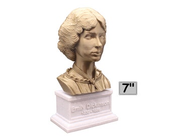 Emily Dickinson American Poet 7 inch 3D Printed Bust