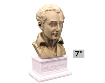 George Gordon Byron (Lord Byron) , English Poet, Politician, and Revolutionary 7 inch 3D Printed Bust