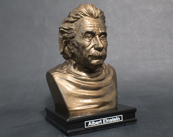 Featured listing image: Albert Einstein 8 inch Premium Bust Solid Hand Finished Original Dated Sculpture
