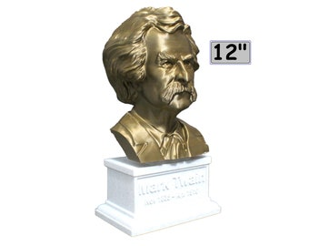 Mark Twain (AKA Samuel Clemens), American Writer, Humorist, Entrepreneur, and Lecturer 12 inch 2 color 3D Printed Bust