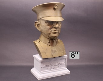 John A. Lejeune Legendary US Marine USMC General and 13th Commandant 8 inch 3D Printed Bust