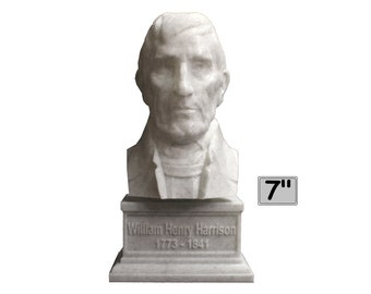 William Henry Harrison USA President #9 7 inch 3D Printed Bust