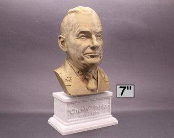 "Lewis Burwell ""Chesty"" Puller Legendary US Marine Corps General USMC 7 inch 3D Printed Bust"