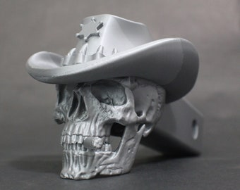 "Sheriff Skull Trailer Tow Hitch Receiver Plug Cover that fits 2"" Receivers for car, truck, or SUV"