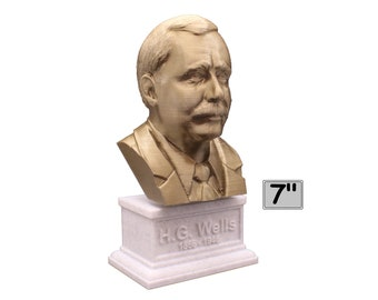 H.G. Wells English Writer 7 inch 3D Printed Bust