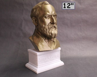 James A. Garfield USA President #20 12 inch 2 color 3D Printed Bust