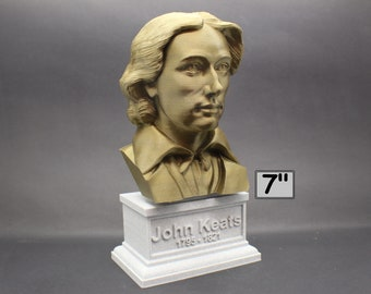 John Keats English Romantic Poet 7 inch 3D Printed Bust
