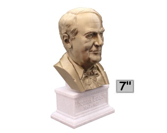 Thomas Edison Famous American Inventor and Businessman 7 inch 3D Printed Bust
