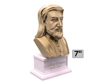 Geoffrey Chaucer Famous English Poet and Author 7 inch 3D Printed Bust