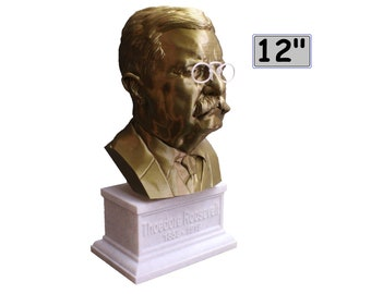 Theodore Roosevelt Teddy USA President #26 12 inch 2 color 3D Printed Bust