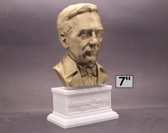 Alexander Fleming Famous Scottish Biologist, Physician, and Pharmacologist 7 inch 3D Printed Bust