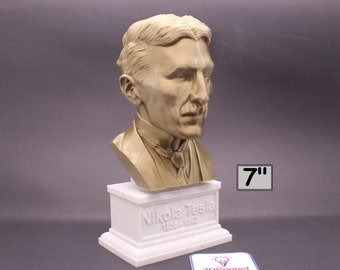 Nikola Tesla Famous Inventor, Electrical Engineer, and Futurist 7 inch 3D Printed Bust