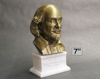 William Shakespeare, English Poet, Playwright, and Actor 7 inch 3D Printed Bust