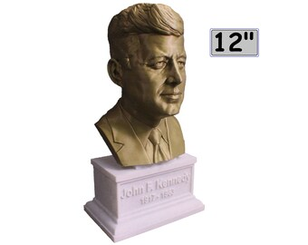 John F. Kennedy JFK USA President #35 12 inch 2 color 3D Printed Bust