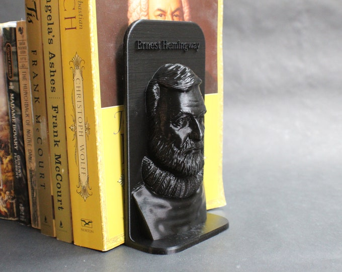 Featured listing image: Ernest Hemingway and Other Famous Authors 3D Printed Bookend Book Frame