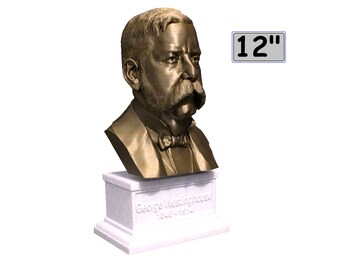 George Westinghouse Jr. Famous American Businessman and Engineer 12 inch 3D Printed Bust