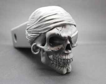 "Laughing Pirate Skull Trailer Tow Hitch Receiver Plug Cover that fits 2"" Receivers for car, truck, or SUV"
