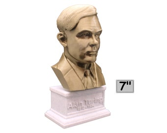Alan Turing Famous English Mathematician and Computer Scientist 7 inch 3D Printed Bust