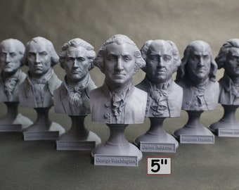 USA Founding Fathers Collection 5 inch 3D Printed Busts (7 Total)