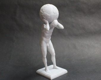 Atlas Carrying the World 3D Printed Statue Art inspired by Greek Mythology