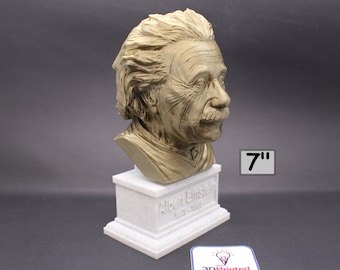 Albert Einstein Famous German Physicist and Mathematician  7 inch 3D Printed Bust