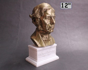Michael Faraday Famous British Electromagnetic and Electrochemical Scientist 12 inch 3D Printed Bust