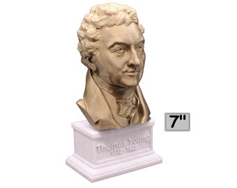Thomas Young Famous British Physicist, Mathematician, and Mechanical Engineer 7 inch 3D Printed Bust