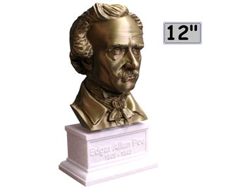 Edgar Allan Poe, American Writer, Editor, Poet, and Literary Critic 12 inch 2 color 3D Printed Bust