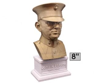 John A. Lejeune Legendary US Marine USMC General and 13th Commandant 8 inch 3D Printed Bust