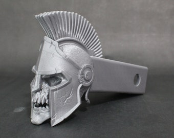 "Laughing Spartan Skull Trailer Tow Hitch Receiver Plug Cover that fits 2"" Receivers for car, truck, or SUV"