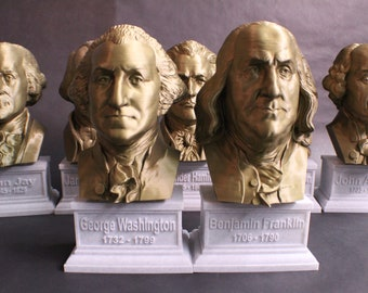 USA Founding Fathers Collection 12 inch 3D Printed Busts (7 Total)