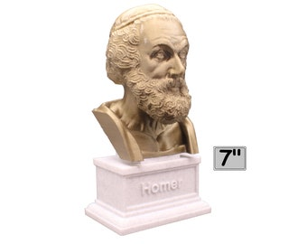 Homer Greek Author of Iliad and The Odyssey 7 inch 3D Printed Bust