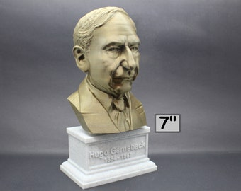 Hugo Gernsback Famous American Writer, Inventor, and Editor 7 inch 3D Printed Bust