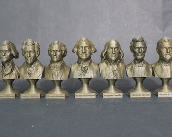 USA Paper Money Bust Collection 5 inch 3D Printed Busts (7 Total)