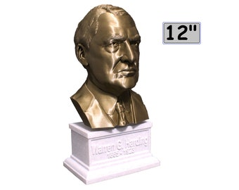 Warren G. Harding USA President #29 12 inch 2 color 3D Printed Bust