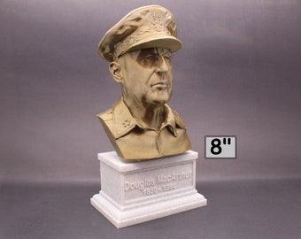 Douglas MacArthur Legendary US Army General 8 inch 3D Printed Bust