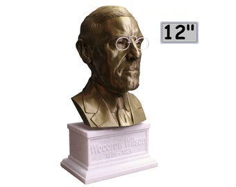 Woodrow Wilson USA President #28 12 inch 2 color 3D Printed Bust