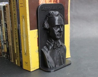 Edgar Allan Poe and Other Famous Authors 3D Printed Bookend Book Frame