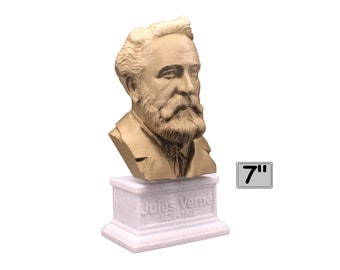 Jules Verne Famous French Novelist, Poet, and Playwright 7 inch Bust