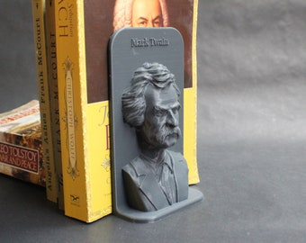 Mark Twain and Other Famous Authors 3D Printed Bookend Book Frame