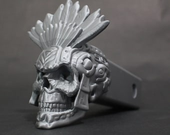 """Aztec Skull Trailer Tow Hitch Receiver Plug Cover that fits 2"""" Receivers for car, truck, or SUV Sugar Skull Dios Los Muertos"""