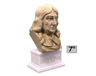 John Milton Famous English Poet and Intellectual 7 inch Bust