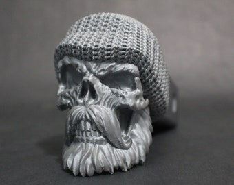 """Bearded Sailor Skull Trailer Tow Hitch Receiver Plug Cover that fits 2"""" Receivers for car, truck, or SUV Night Watch Beanie"""